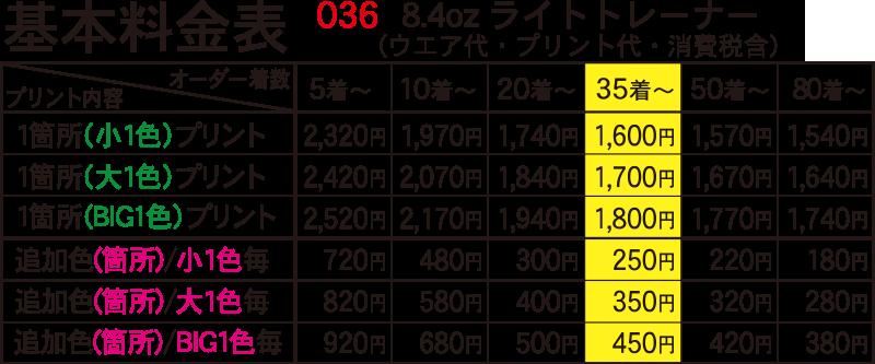 8.4オンスライトトレーナー